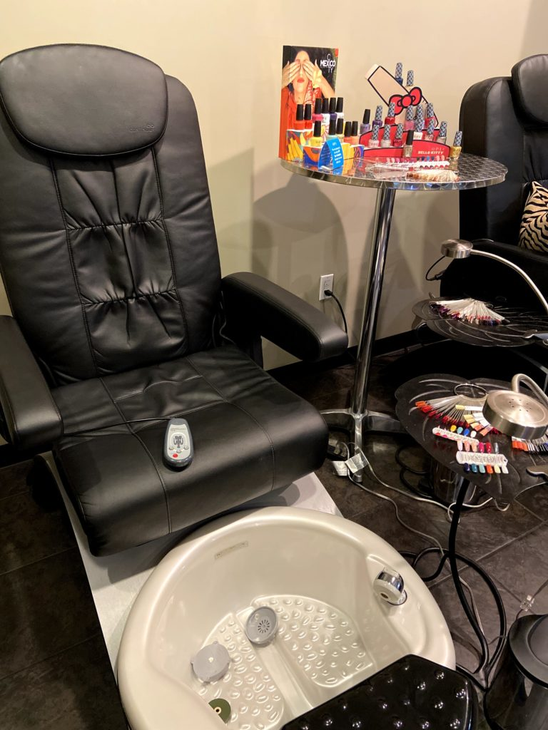 Relax in our massaging pedicure chair.